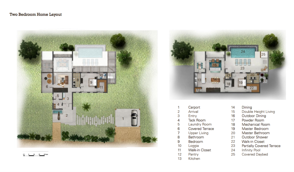 Two bedroom Home Layout at Big Sky Ranch Nicaragua